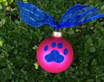 Paw Print Glitter Ornament, Royal Blue on Hot Pink Ornament, Pet Lover, Cat or Dog Gift, PERSONALIZED FREE, Pawprint