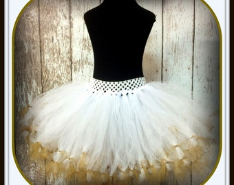 White with Gold Petti Tutu - Fits Sizes 6 months-5T