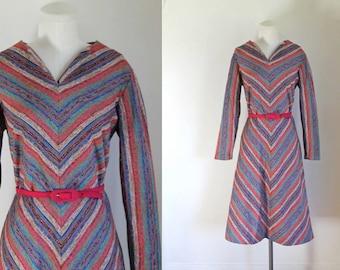 vintage 1960s knit dress - MARTHA MANNING chevron striped day dress / L