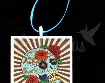 2x2 Ceramic Tile Ornament - Dia de Los Muertos-Day of the Dead Sugar Skull (SSO11) Ready to Ship