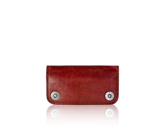 iPhone SE, iPhone 5 RETROMODERN aged leather wallet - - RED