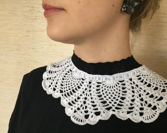 White bridal collar crochet Peter Pan collar white lace girl's collar handmade women's necklace