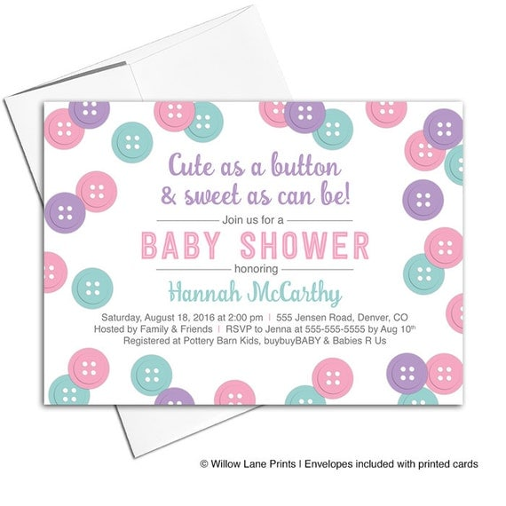 cute as a button baby shower invitation for girls pink purple mint
