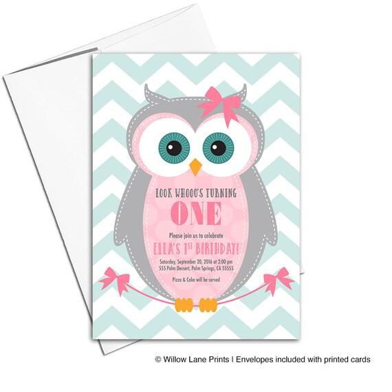 Baby girl first birthday invitation owl birthday party invites for il570xn filmwisefo