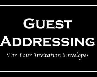Envelope Addressing Service - Printed Individual Guest Names & Addresses - MUST ORDER MINIMUM of 50