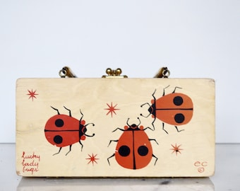 Enid Collins Vintage Bag: Lucky Lady Bugs Wooden Box Purse