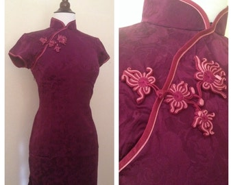 Vintage burgundy rose silk Qipao size small 1940s