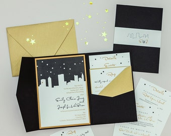Starry Night Skyline Wedding Invitation,Pocketfold NYC Skyline Wedding Invitation,Columbus wedding invite,Chicago skyline wedding Invitation