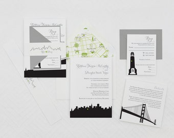 San Francisco Modern Wedding Invitation,SF Wedding Invitations,San Francisco Skyline Wedding Invites,Any City Skyline Wedding Invitations,