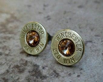 Winchester 270 Win Bullet Earring, Lightweight Thin Cut, Light Colorado Topaz Swarovski Crystal, Nickel free Surgical Steel Stud - 300