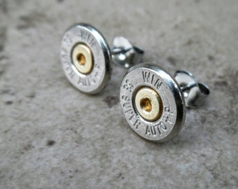 Stud Earring, 38 Auto Super +P Winchester Bullet Earring, Two Tone Nickel/Brass Stud Earrings , Surgical Steel, Sterling Silver, Post - 4410