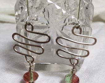 Silver Ziggy Zaggy Red/Green Bead earrings