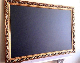 GOLD FRAMED CHALKBOARD Magnetic Chalk Board Framed Chalkboard Black and Gold Wedding Decor Home Office Desk Organizer Bulletin Board Signage