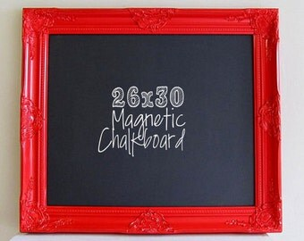 RED FRAMED CHALKBOARD Magnetic Red and Black Kitchen Wall Decor Kitchen Organizer Apple Red Home Decor Blackboard Home Office Message Board