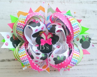 Easter/Spring stacked Disney hair bow-Minnie Mouse Easter Bunny bow-made by Maddie B's Boutique on Etsy