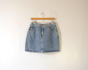 Vintage 80's high waisted denim mini skirt, Guess blue denim skirt, size 12 large