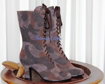 50% SALE Military Boots Victorian boots Camouflage shoes Victorian Boots Edwardian boots Custom made Shoes
