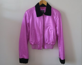 Wilsons leather metallic pink leather jacket sz small