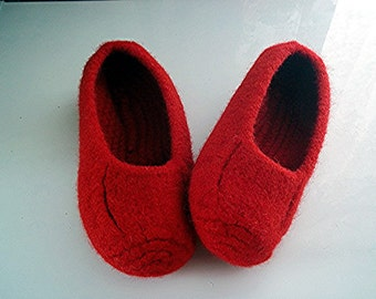 Knit Felt Slippers Women Men Children non slip bottom