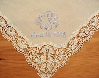 Wedding Handkerchief: Cream Color German Plauen Lace Handkerchief Style No. 40737 with Classic 3-Initial Monogram Wedding Handkerchief