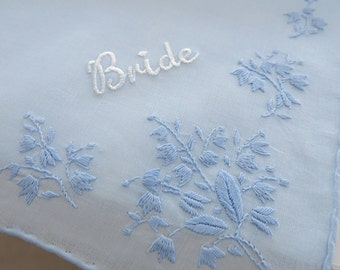 "Wedding Handkerchief for the Bride, Blue Cotton Handkerchief with ""Bride"""
