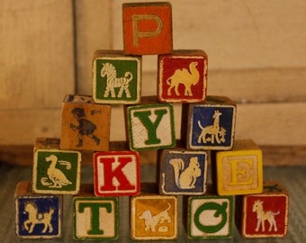 Vintage Children's Wooden Alphabet Block Set, Alphabet Blocks, Antique Toy, Vintage Alphabet Wood Block Set, Vintage Toy, Old Blocks