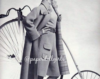 Vintage Fashion Magazine Ad French Vogue Paris 1970 Advertisement Haute Couture Wool Coat Culottes Madame Gres