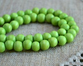 100pcs 8mm Lime Green Wood Natural Beads Round Macrame Bead