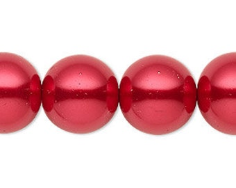 25pcs 16mm Bead Glass Pearl Round Red 16 Inches Strand