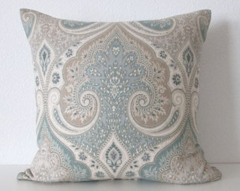 Anjali seagulls latika seafoam medallion linen taupe green decorative pillow cover accent pillow
