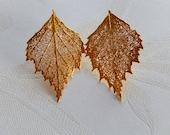 Leaf Earrings, Post Earrings, Vintage Leaves, Gift for Her