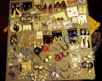 Vintage Lot 1980s 76 Pairs of Pierced & Clip Earrings Drop Dangle Big Bold  8452
