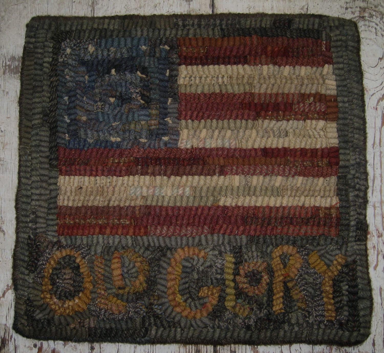 Rug Hooking Designs Primitive: Primitive Folk Art Rug Hooking PatternOld Glory