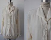 Vintage SILK Cream Button Down Blouse Shirt 80s  L