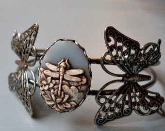 Butterfly and Dragonfly Cuff Style Bracelet, Butterfly Bracelet, Dragonlfy Bracelet, butterflies, dragonfly, cuff  bracelet, silver cuff