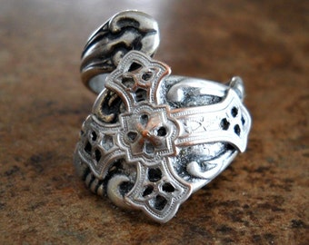 Celtic Cross Spoon Ring,The ORIGINAL Silver Spoon Ring with Filigree Celtic Cross,*** Exclusive Design Only by Enchanted Lockets