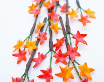 Maple Leaves Miniature Polymer Clay Flowers Supplies for Dollhouse, set of 10 stems