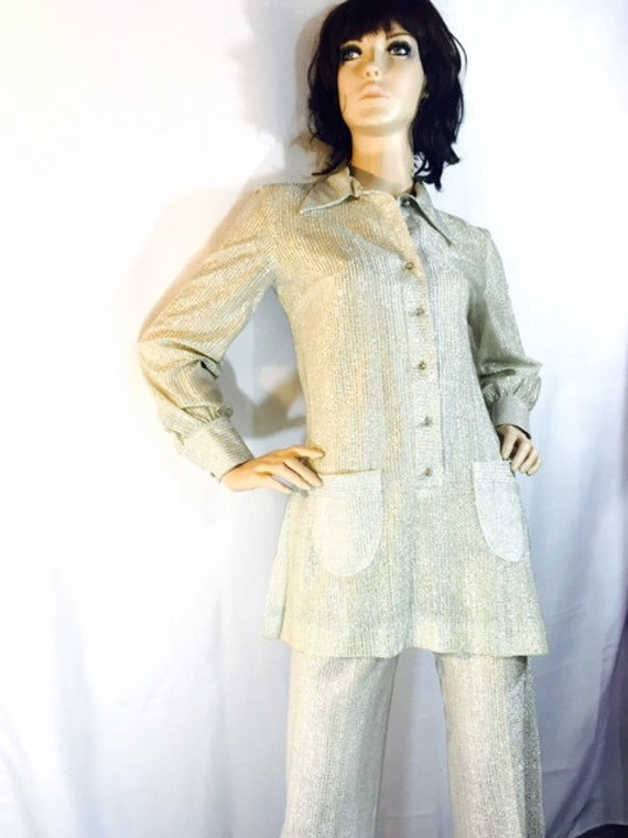 Vintage Pant Suit Sparkly Silver White Sheer by OffbeatAvenue