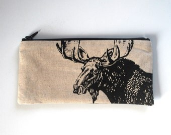 Woodland Pouch, Moose  Pencil Case, Canadian Gift, Animal Lover Pouch
