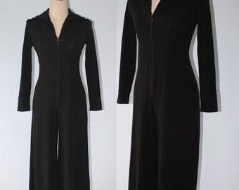 50% OFF SALE 1970s Black Jumpsuit . Vintage 70s Stretchy Knit Curvy Body Con ALEX Coleman Wide Leg Catsuit . Zipper in Front . Sz Small-Medi