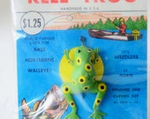 Vintage Reel Frog Fishing Lure Anoka Minnesota Rubber frog lure Gift for Dad