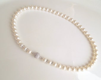 Pearl Necklace Bridal Pearl Necklace Ivory Swarovski Pearls Bridal Classic Necklace Bridesmaid Necklace Wedding Pearl Necklace IRENE