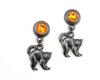 Halloween Earrings Black and Orange Jewelry Black Cat Earrings Harvest Moon Crystal Jewelry Samhain Spooky Halloween Gift for Teachers
