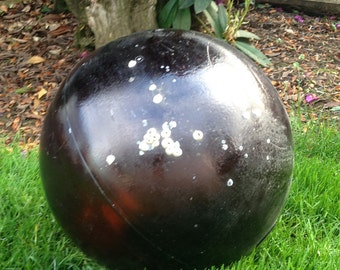 "Japanese Glass Fishing Float - 14"" diameter, Barnacles, Root Beer Brown, Dai Ichi Glass Company, Collector Float"
