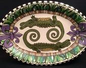 Alligators on Pier Fleur de Lis Oval Serving Platter