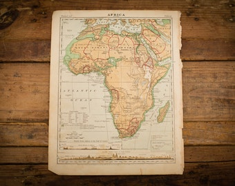 "1871 Africa Map, 12"" x 9.5"", Antique Illustrated Book Page, 1800s"