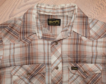 Wrangler Brown Plaid Snap Button Shirt, Western Rockabilly, Vintage 60s-70s