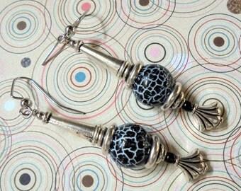 Black Agate Earrings (2829)