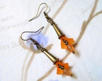 Orange and Brass Lily Flower Earrings (2847)