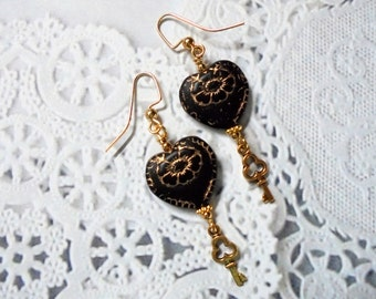 Black and Gold Heart and Key Earrings (2446)